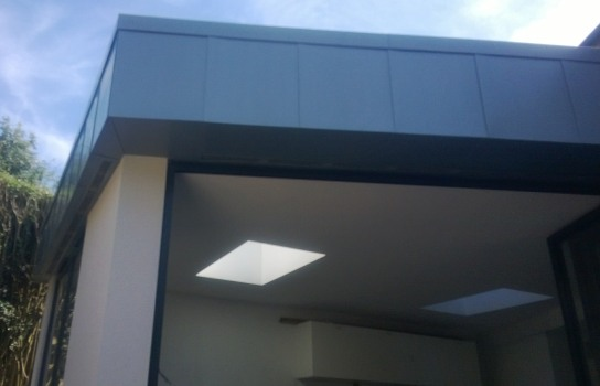 Rear extension in Hove, East Sussex. Rheinzink in Blue Grey
