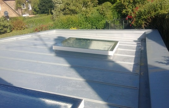 Roof covering and velux in Rheinzink Blue Grey in Hove, East Sussex