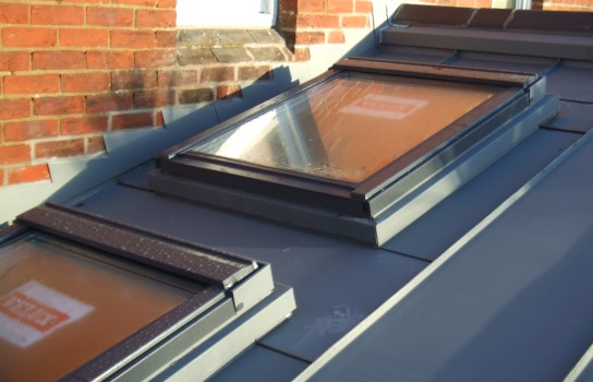 Winchester, standing seam roof and velux detail in VMZinc Quartz